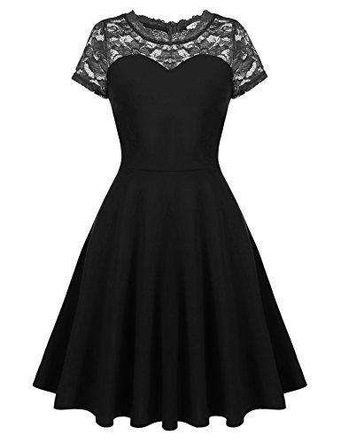 Meyison Damen Vintage 1950er Off Schulter Spitzenkleid ...