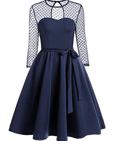 zeagoo damen vintage 50er jahr rockabilly kleid swing cocktailkleid abendkleid elegantes kleid