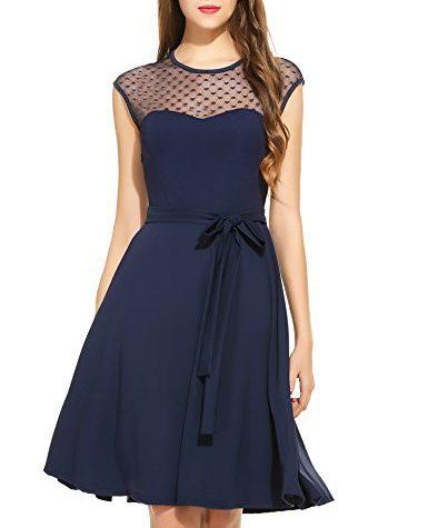 zeagoo elegant damen kleider kurzarm retro vintage 50er jahr sewing rockabilly kleid