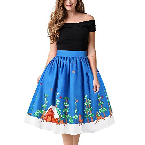 Weihnachtskleid Damen Skirt A-Linie Rock Kleid mit ...