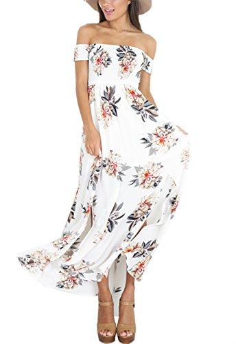 ISASSY Damen Sommerkleid Elegant Schulterfreies Kleid ...