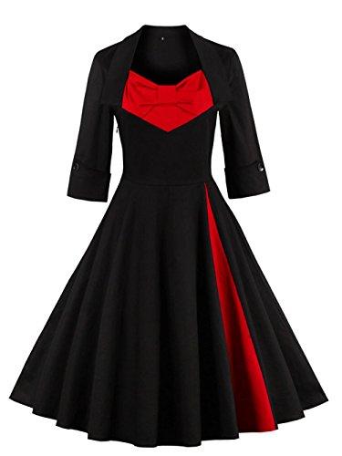 VKStar® Vintage 50er elegantes Abendkleid mit Knöpfe ...
