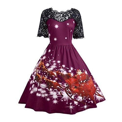 Trada Damen Weihnachten Party Kleid Elegant Vintage Xmas ...