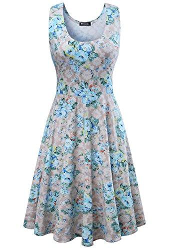 Damen Vintage Sommerkleid Traeger mit Flatterndem Rock ...