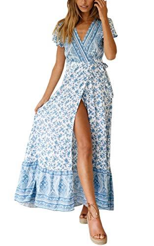 ECOWISH Damen Kleider Boho Sommerkleid V-Ausschnitt ...