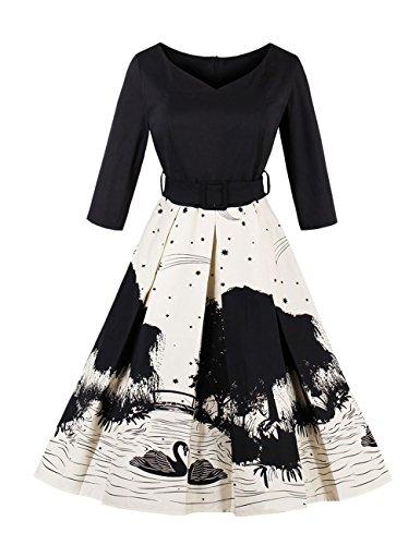 VKStar® Retro 50er Jahre Damen Rockabilly Kleid Langarm ...