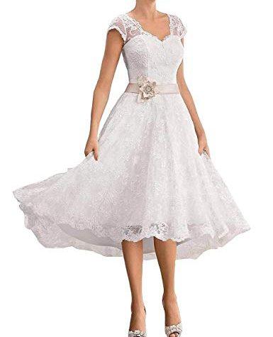 vkstar® alinie vausschnitt spitzen brautkleider kurz elegante hochzeitskleider standesamt