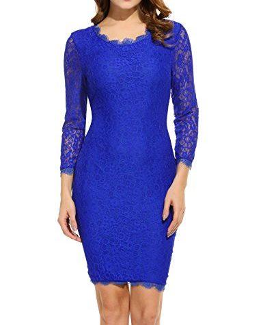 Beyove Damen Vintage Kleid Schulterfrei Spizenkleid ...