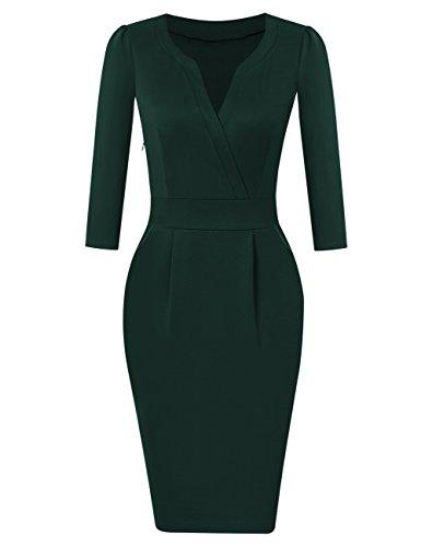 Longra Damen Elegant Etuikleider Business Kleider mit ...