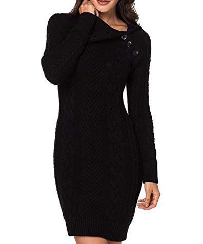Itsmode Damen Pullover Kleid Elegant Strickkleid Casual ...