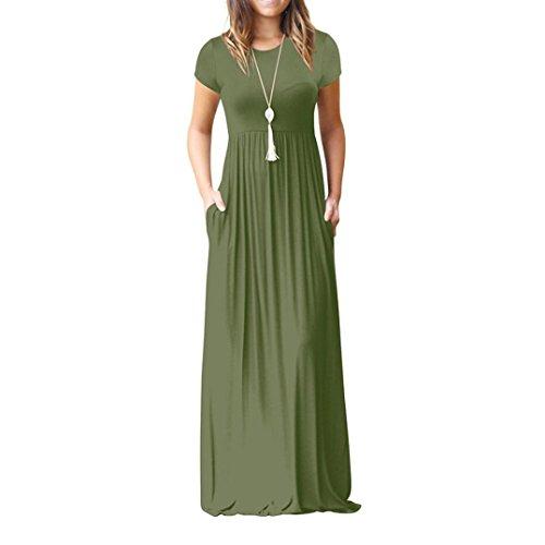 Petalum Damen Langarm Maxi Kleid mit Taschen Langarm ...