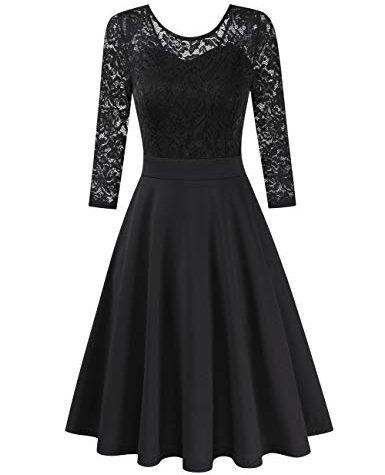 Clearlove Damen Kleider Elegant Spitzenkleid 3/4 Ärmel ...