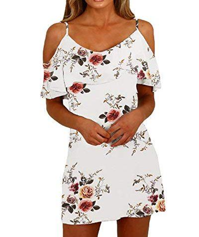 YOINS Sommerkleid Damen Sexy Tshirt Kleid Schulterfrei ...